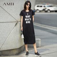 Amii[极简主义]2017夏装新款大码休闲印花开衩短袖连衣裙11742037