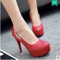 【支持礼品卡支付】单鞋女鞋高跟鞋韩版水钻公主鞋裸色单鞋小圆头超高跟女鞋