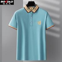 伯克龙 男士POLO衫纯色纯棉修身短袖T恤衫 男装新款翻领上衣休闲保罗衫Z87801-02