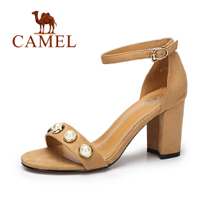 Camel/骆驼女鞋 2017夏季新款韩版绒面凉鞋女 舒适方跟高跟凉鞋