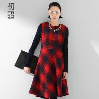 初语冬季新品 拼毛织格纹长袖毛呢连衣裙女8532416015