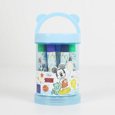 迪士尼幼儿童带印章水彩笔24色米奇36色涂鸦可水洗绘画彩笔小学生12色