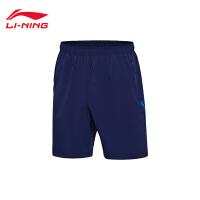 李宁男士运动裤2017新款透气夏季短裤梭织运动裤AKSM105