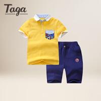 TAGA童装2017夏季新款短袖套装男童polo衫短裤两件套3-15岁儿童