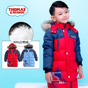 【满200减100】托马斯童装男童羽绒服2016冬季中长款儿童棉服男童保暖外套上衣托马斯和朋友