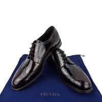 Prada酒红色男士商务系带皮鞋2EB153