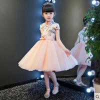 新款晚礼服夏日款 儿童旗袍礼服生日公主裙 女童钢琴演出服花童礼服裙蓬蓬裙