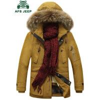 战地吉普AFS JEEP冬装加厚棉服 男装加绒可脱卸内胆保暖棉衣 中长款棉袄外套