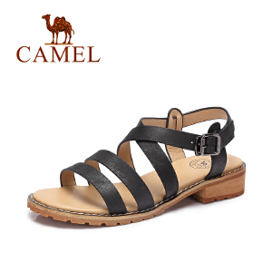 Camel/骆驼女鞋 2017夏季新款 休闲方跟罗马鞋 百搭露趾凉鞋