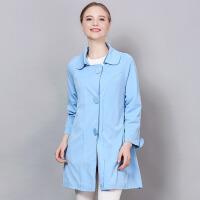 �莱2017春装新款娃娃领百搭纯色单排扣外套潮