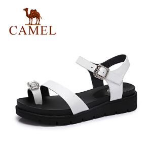 camel骆驼女鞋 新款时尚夏季女鞋 酷感水钻休闲舒适真皮凉鞋