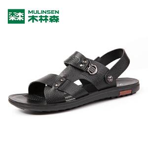 木林森凉鞋 夏季新款男士真皮休闲沙滩鞋 耐磨透气爸爸凉鞋05267715