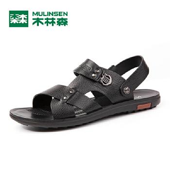 木林森凉鞋 2016夏季新款男士真皮休闲沙滩鞋 耐磨透气爸爸凉鞋MSM67715