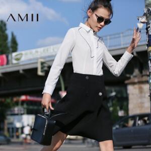 【AMII超级大牌日】[极简主义]2017年春不规则绣花个性撞色修身长袖衬衫女11682426