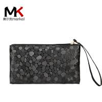 莫尔克(MERKEL)新款女钱包零钱包时尚石头纹拉链长款女士钱包钱夹女手拿包