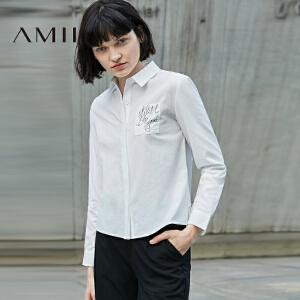【预售】Amii2017春女通勤字母印花荷叶边翻领长袖衬衫11770413