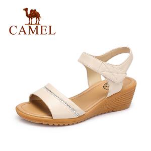 Camel/骆驼2017新款夏季休闲舒适坡跟凉鞋女简约水钻女鞋