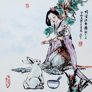 《蟾宫清趣图》釉上彩瓷板 李华中国当代著名人物画家