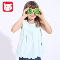 小猪班纳童装2017夏装新款女童背心纯棉无袖T恤中大童夏装上衣T恤