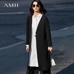 【预售】Amii2017春新女大码休闲V领开襟条纹毛针织衫11781364