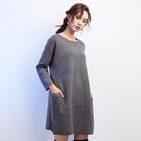 秋冬纯色羊毛裙女灰色中长款口袋侧开叉套头针织连衣裙宽松毛衣裙