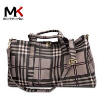 莫尔克(MERKEL)韩版条纹潮大容量旅行包男女单肩手提行李袋健身包旅行包袋