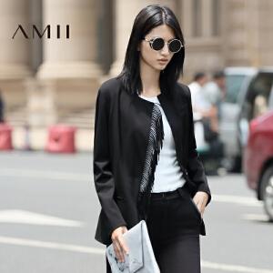 【AMII超级大牌日】[极简主义]2017年春新品原创纯色流苏一粒扣前襟罗纹立领西装