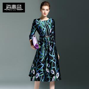 海青蓝2017春季新款印花气质优雅七分袖圆领收腰中裙连衣裙女6002
