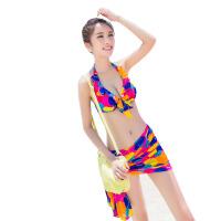 泳衣女小胸聚拢钢托大胸性感披纱泳装比基尼三件套