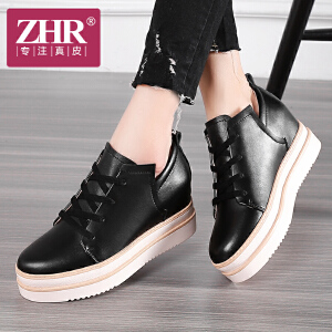 ZHR2017春季新款英伦厚底松糕鞋内增高女鞋真皮平底单鞋休闲鞋B27