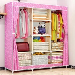亚思特简易布衣柜  大空间 加厚无纺布 时尚大号布衣橱 韩式家具加固钢管组合衣柜1611
