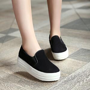 妃枫霏 春季新款时尚单鞋韩版绒面乐福鞋内增高板鞋学生鞋