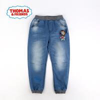 托马斯童装正版授权春季新款男童轻薄牛仔裤织章中童束脚裤子