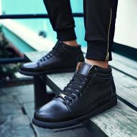 2016春季英伦男士商务休闲皮鞋真皮系带透气时尚鞋高帮板鞋男鞋子