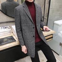 冬季韩版男士风衣中长款英伦男装毛呢外套修身呢子大衣潮