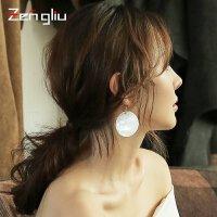 925银针贝壳耳环 女圆款长款耳坠夸张气质韩国耳饰潮人耳圈圈耳挂