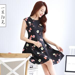 一米阳光2017春装新款韩版无袖印花连衣裙修身甜美裙子