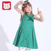 小猪班纳童装女宝宝无袖连衣裙2017夏装新款女童背带裙儿童吊带裙