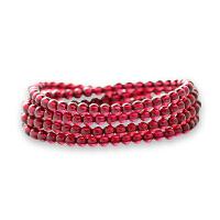 芭法娜 绯红 天然石榴石4mm多圈时尚手链 高晶体 高品质 酒红色