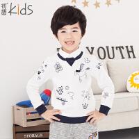 初语童装 冬儿童套头卫衣冬新款百搭卡通男童卫衣T54052