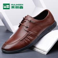 木林森(MULINSEN) 2017春夏新款尖头休闲耐磨单鞋 英伦商务正装系带皮鞋05177310
