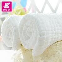 象宝宝 纯棉纱布浴巾 新生儿浴巾纯棉毛巾被6层加厚