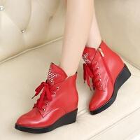 娜箐箐冬新款头层牛皮系带水钻坡跟女鞋高跟侧拉链真皮女靴