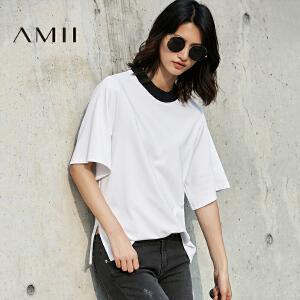 Amii[极简主义]2017春新宽松罗纹领套头开衩阔袖休闲T恤11781311