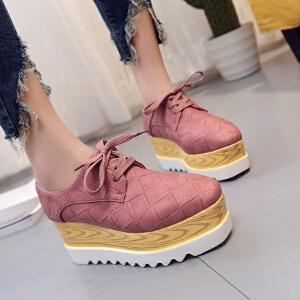 【2017年春季新款】 韩版坡跟单鞋时尚百搭内增高女鞋厚底系带休闲鞋