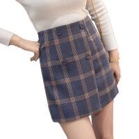 秋冬裙子A字裙短裙格子半身裙女半裙包臀裙高腰