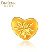 DIASENN/德诚珠宝心型足金转运珠3D硬金百搭细节精致拉丝黄金饰品