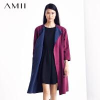 【AMII超级大牌日】[极简主义]新品冬时尚两面穿双排扣双色毛呢大衣女2色11480317