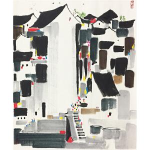 吴冠中《庭院》中国当代著名画家