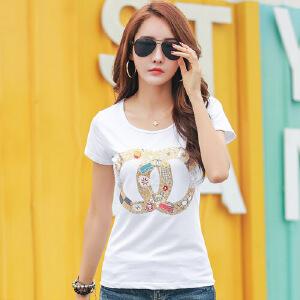 2017夏装韩版修身女t恤短袖白色休闲纯棉半袖体恤衫夏季女上衣潮WK0650